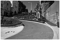 Lombard Street curving roadway. San Francisco, California, USA ( black and white)