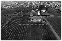Aerial view of winery at the edge of suburban housing. Livermore, California, USA ( black and white)