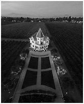 Aerial view of illuminated Concannon winery at dusk. Livermore, California, USA ( black and white)
