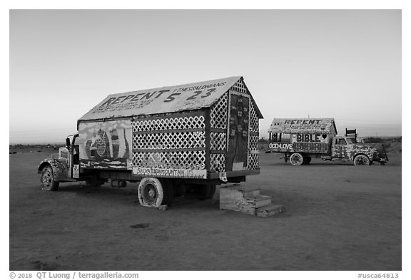 Painted trucks, Salvation Mountain. Nyland, California, USA (black and white)