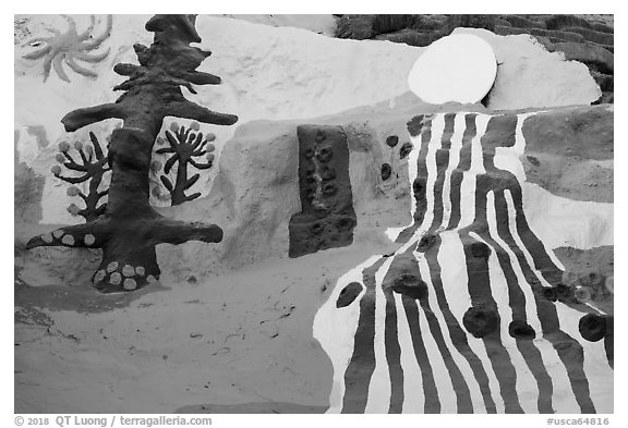 Salvation mountain detail. Nyland, California, USA (black and white)
