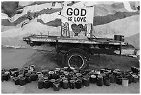 Paint and God is Love sign, Salvation Mountain. Nyland, California, USA ( black and white)