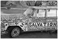 Painted car, Salvation Mountain. Nyland, California, USA ( black and white)