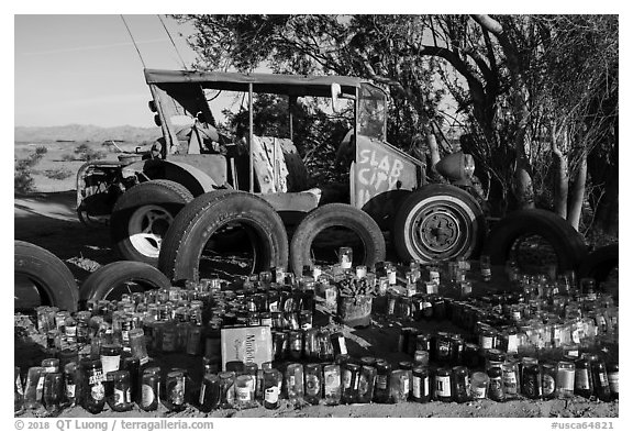 Exhibit made of recycled materials, Slab City. Nyland, California, USA (black and white)