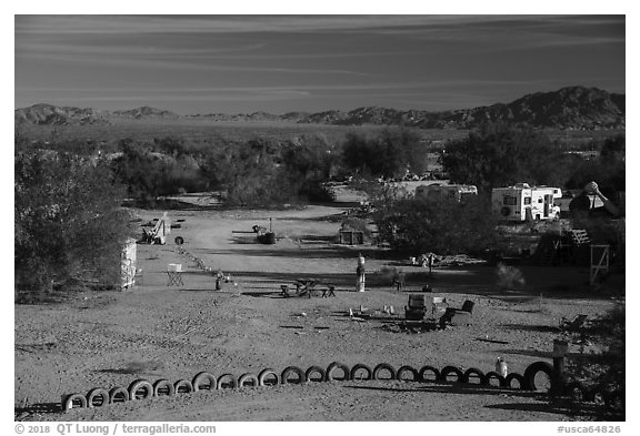 Art installations and dwellings, Slab City. Nyland, California, USA (black and white)