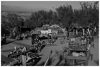 East Jesus art installation from above, Slab City. Nyland, California, USA ( black and white)