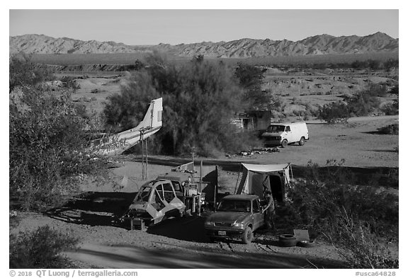 Camps, Slab City. Nyland, California, USA (black and white)