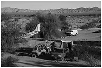 Camps, Slab City. Nyland, California, USA ( black and white)