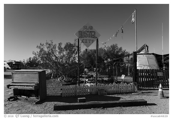 Hostel, Slab City. Nyland, California, USA (black and white)