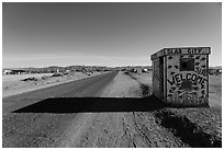 Road leading to Slab City. Nyland, California, USA ( black and white)