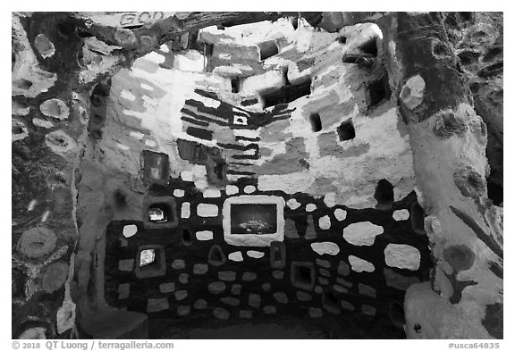 Salvation Mountain recess. Nyland, California, USA (black and white)