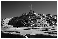 Frontal view of Salvation Mountain. Nyland, California, USA ( black and white)