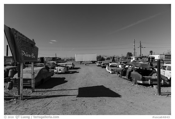 Bombay Beach drive in theater. California, USA (black and white)