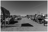 Bombay Beach drive in theater. California, USA ( black and white)