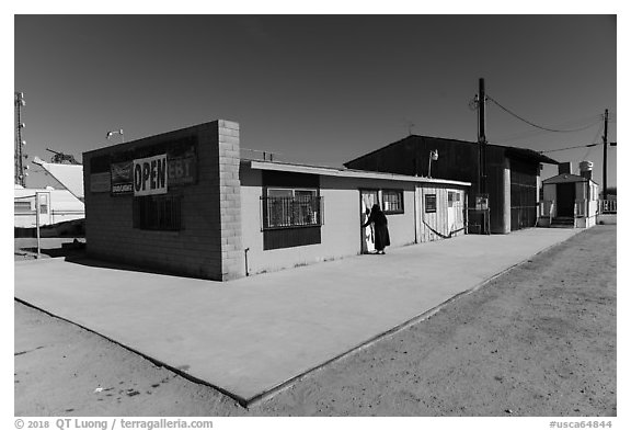 Bombay Beach grocery store. California, USA (black and white)