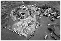 Aerial view of Salvation Mountain at dawn. Nyland, California, USA ( black and white)