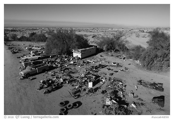 Aerial view of Slab City dwelling. Nyland, California, USA (black and white)