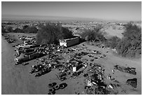 Aerial view of Slab City dwelling. Nyland, California, USA ( black and white)