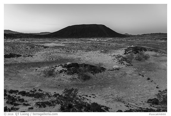 Amboy Crater at dawn. Mojave Trails National Monument, California, USA (black and white)
