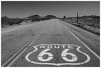 National Trails Highway route 66 marker. California, USA ( black and white)