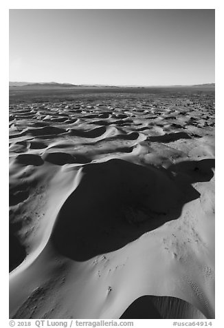 Aerial view of Cadiz dunes and valley. Mojave Trails National Monument, California, USA (black and white)