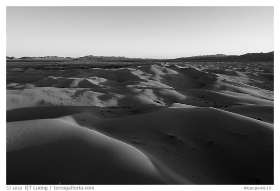 Aerial view of Cadiz dunes and mountains at sunset. Mojave Trails National Monument, California, USA (black and white)