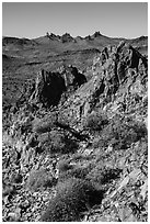 Looking at Castle Peaks from Castle Mountains. Castle Mountains National Monument, California, USA ( black and white)