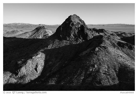 Hart Peak. Castle Mountains National Monument, California, USA (black and white)
