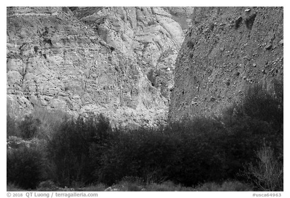 Steep fanglomerate cliffs, Whitewater Preserve. Sand to Snow National Monument, California, USA (black and white)