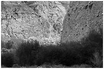 Steep fanglomerate cliffs, Whitewater Preserve. Sand to Snow National Monument, California, USA ( black and white)