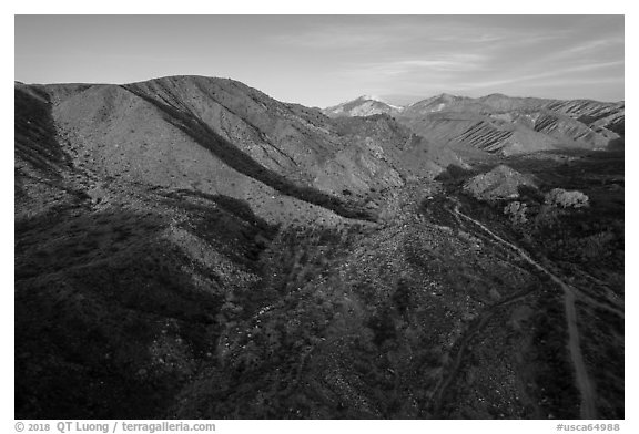 Aerial view of valley, Mission Creek Preserve. Sand to Snow National Monument, California, USA (black and white)