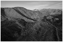 Aerial view of valley, Mission Creek Preserve. Sand to Snow National Monument, California, USA ( black and white)