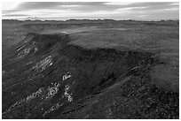 Aerial view of Flat Top Mesa. Sand to Snow National Monument, California, USA ( black and white)