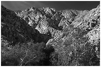 San Jacinto Peak escarpment from Chino Canyon. Santa Rosa and San Jacinto Mountains National Monument, California, USA ( black and white)