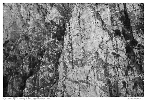 Striated cliff in Chino Canyon, north face of San Jacinto Peak. Santa Rosa and San Jacinto Mountains National Monument, California, USA (black and white)
