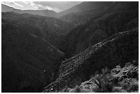 Deep Canyon and Santa Rosa Mountains. Santa Rosa and San Jacinto Mountains National Monument, California, USA ( black and white)