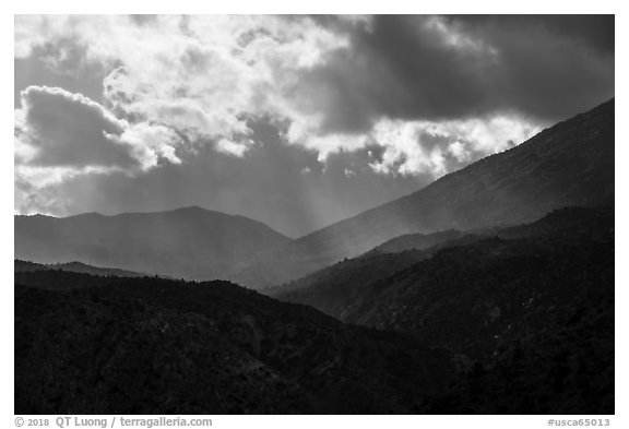 Showers and clouds over Santa Rosa Mountains. Santa Rosa and San Jacinto Mountains National Monument, California, USA (black and white)