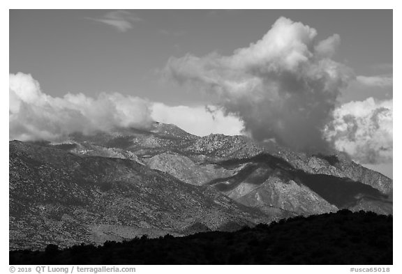 San Jacinto Mountains from high in the south. Santa Rosa and San Jacinto Mountains National Monument, California, USA (black and white)