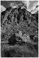 Boulder and canyon walls, Tahquitz Canyon, Palm Springs. Santa Rosa and San Jacinto Mountains National Monument, California, USA ( black and white)