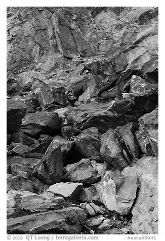 Boulders on slope, Tahquitz Canyon, Palm Springs. Santa Rosa and San Jacinto Mountains National Monument, California, USA (black and white)