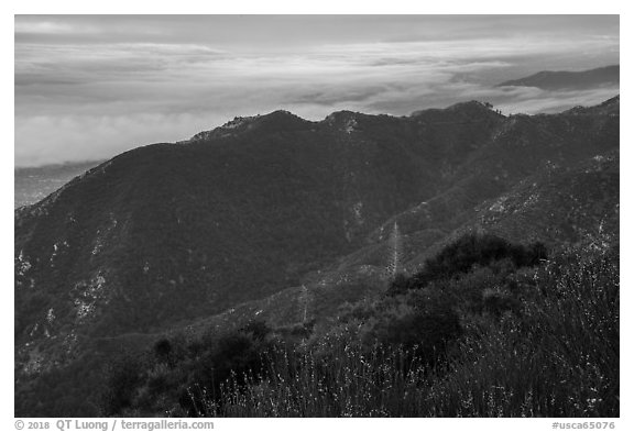 Mountains above low clouds from Mount Wilson. San Gabriel Mountains National Monument, California, USA (black and white)