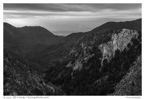 Forested mountains with Los Angeles Basin in the distance. San Gabriel Mountains National Monument, California, USA (black and white)