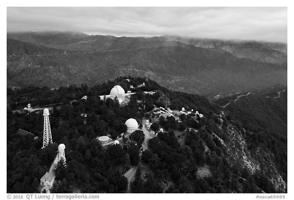 Aerial view of Mount Wilson observatory. San Gabriel Mountains National Monument, California, USA (black and white)
