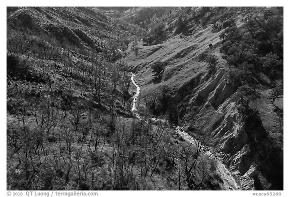 Aerial view of bluff and creek, Cache Creek Wilderness. Berryessa Snow Mountain National Monument, California, USA (black and white)