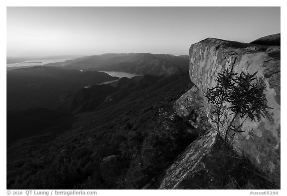 Annies Rock and Markley Canyon at sunset. Berryessa Snow Mountain National Monument, California, USA (black and white)