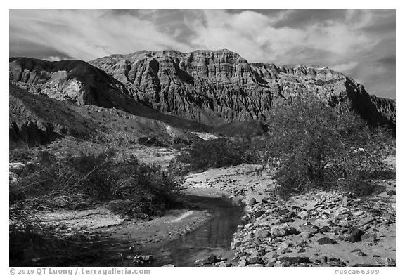 Mojave River and Afton Canyon palissades. Mojave Trails National Monument, California, USA (black and white)