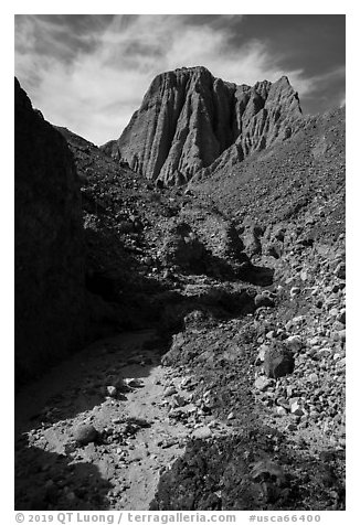Desert wash and eroded badlands, Afton Canyon. Mojave Trails National Monument, California, USA (black and white)