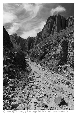 Wash in narrow side canyon, Afton Canyon. Mojave Trails National Monument, California, USA (black and white)