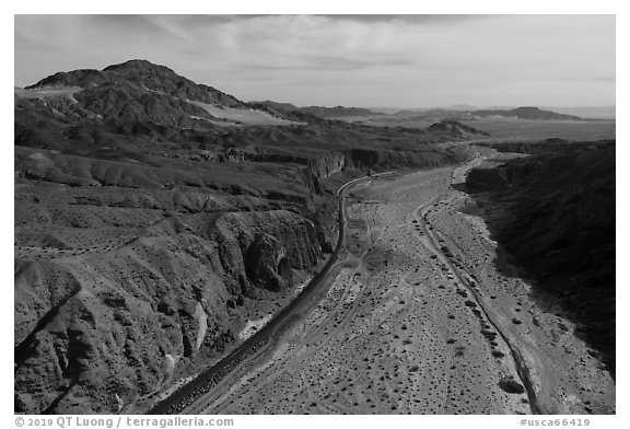 Aerial view of Afton Canyon, railroad, and Mojave River. Mojave Trails National Monument, California, USA (black and white)