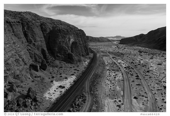 Aerial view of Afton Canyon, rail tracks and roads. Mojave Trails National Monument, California, USA (black and white)